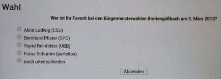 Wahlumfrage Breitengüßbach 2013 Umfrageformular