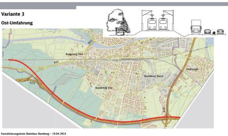 Plan Ostumfahrung Bamberg Bahn 2013