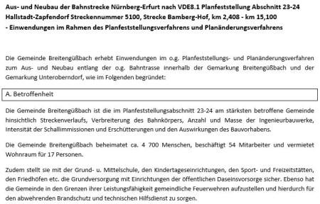 Bahn-Einwendungen Breitengüßbach