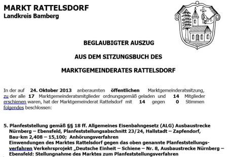 Bahn-Einwendungen Rattelsdorf