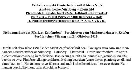 Bahn-Einwendungen Zapfendorf