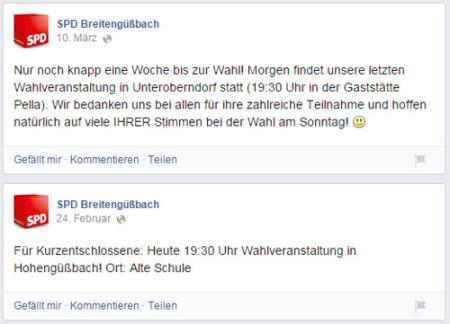 Facebook SPD Breitengüßbach 2014